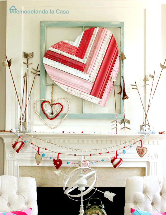Valentine mantel with scrap molding heart
