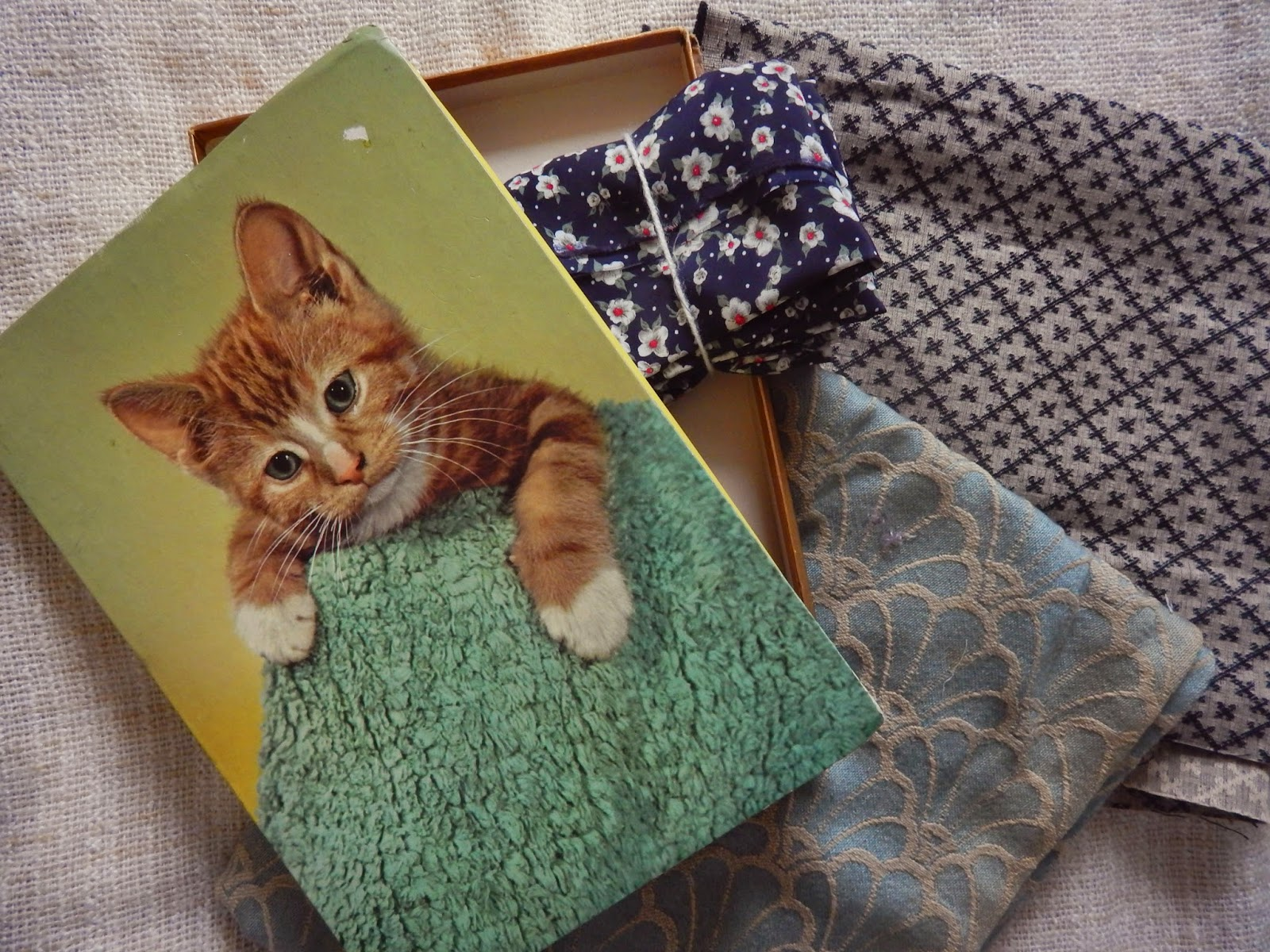 Vintage Cat Chocolate Box and fabric