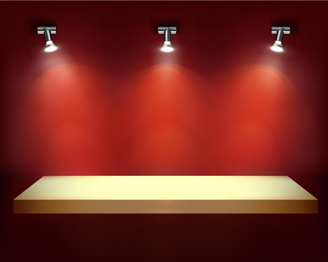 スポットライトで照らした展示台 indoor wall decoration イラスト素材