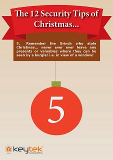 Keytek 24hr emergency Locksmiths Tip 5 of 'The 12 Security Tips of Christmas'
