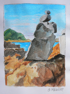 """Front Row Seat"" 4.3""x 3.2"" watercolor sketch on paper © 2015 Tina M Welter  Rock Cairns near Island Bay, New Zealand"