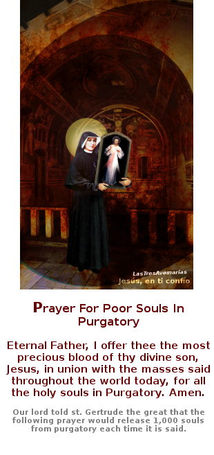 santa faustina con oracion para sacar animas del purgatorio