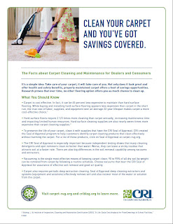 CRI's Carpet Cleaning Facts for Retailers, Consumers