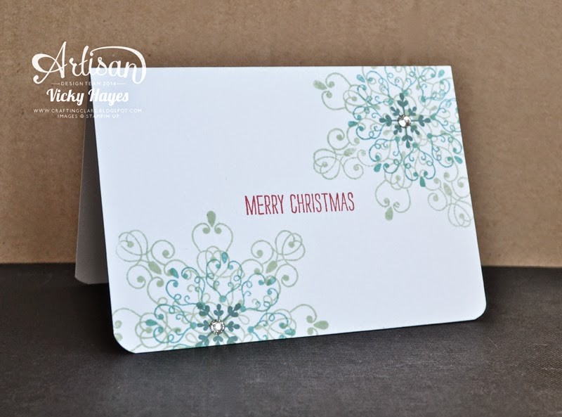 Fast, one layer handmade Christmas card using Letterpress Winter by Stampin' Up