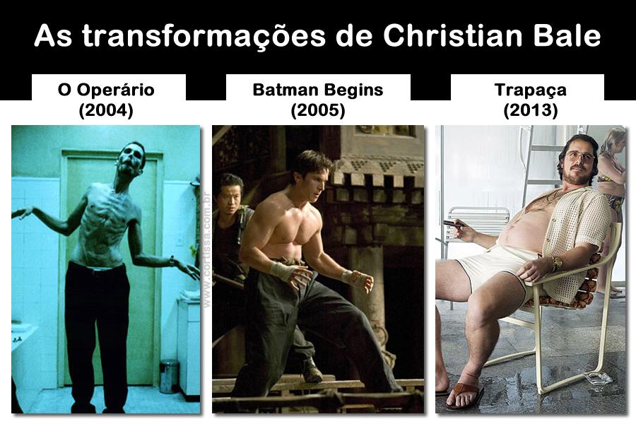 """As transformações de Christian Bale em """"O Operário"""", """"Batman Begins"""" e """"Trapaça"""""""