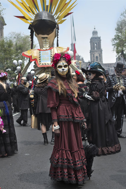 One of fifteen hundred extras dressed and made up to be part of the Day of the Dead parade in Metro-Goldwyn-Mayer Pictures/Columbia Pictures/EON Productions' action adventure SPECTRE.