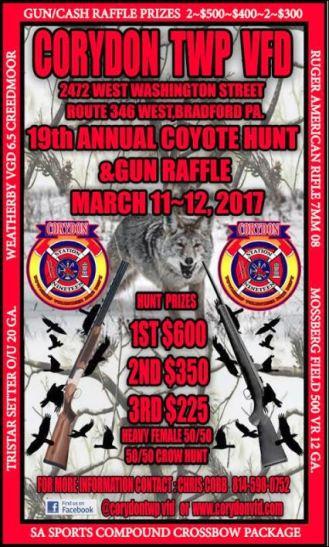 3-11/12 Coyote Hunt & Gun Raffle