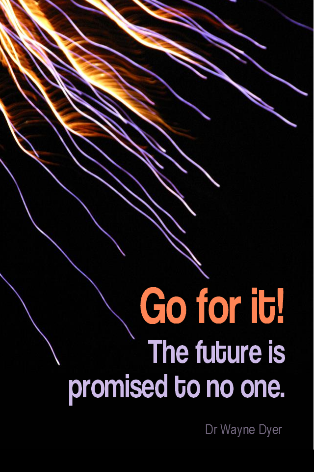 visual quote - image quotation for MOTIVATION - Go for it! The future is promised to no one. - Dr Wayne Dyer
