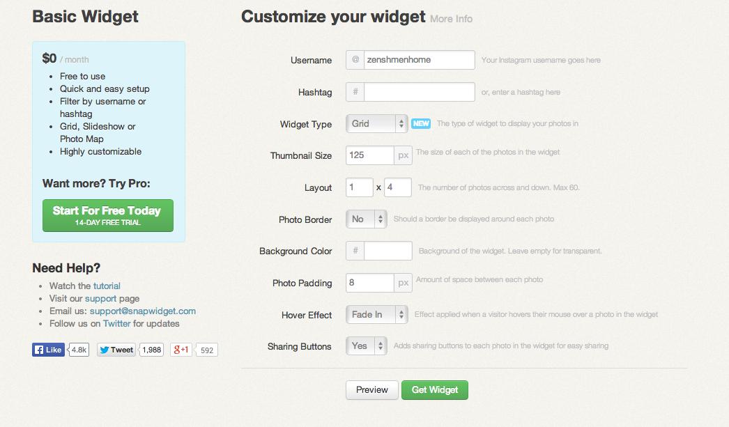 SnapWidget's Easy Widget Creator for Instagram