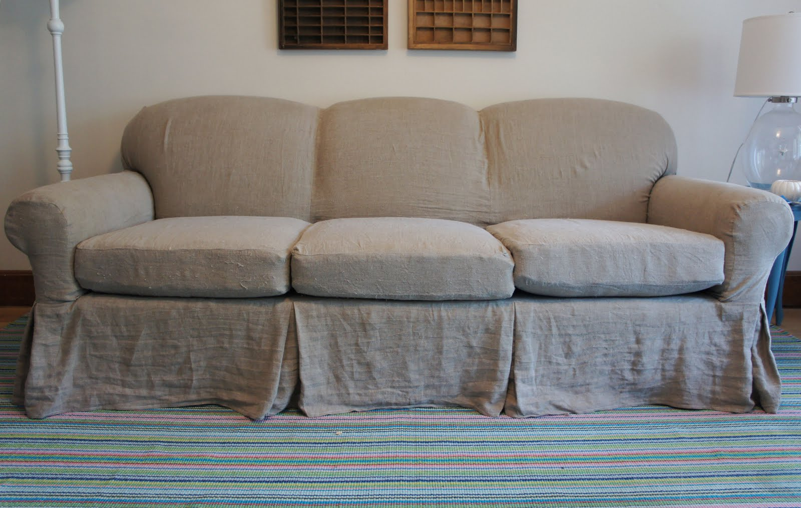 slipcover for in maker before sectional rustic slipcovers and after linen cotton line gray the