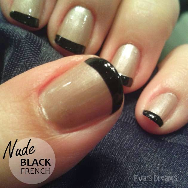 Nails of the week: Nail design Black French with Nude