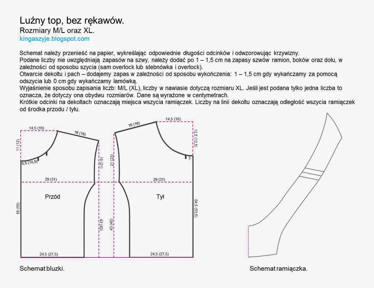 Schemat wykroju bluzka - top, www.kingaszyje.blogspot.com