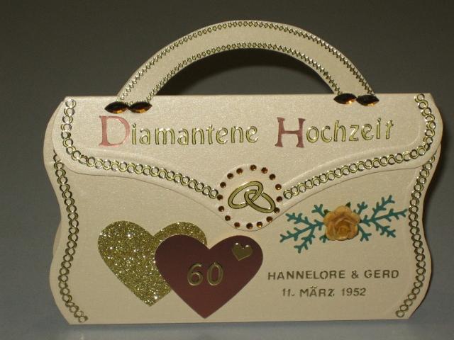 Micha´s Kreativwerkstatt: Handtaschenkarte Diamantene Hochzeit