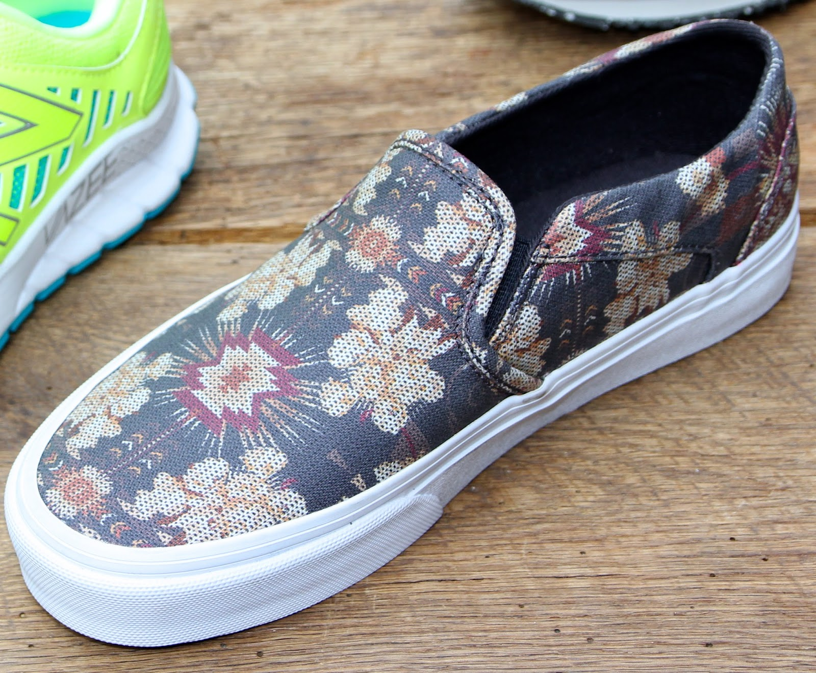 Vans Asher $49.95 DSW price slip-ons with white sneaker outsole get dark  floral uppers for Fall