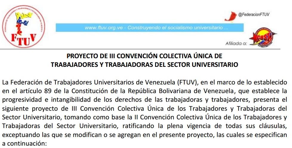 PROYECTO DE III CONVENCIÓN COLECTIVA ÚNICA DE TRABAJADORES Y TRABAJADORAS DEL SECTOR UNIVERSITARIO