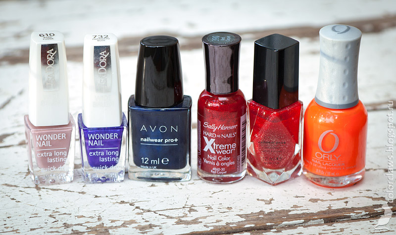 IsaDora Bare Fudge , IsaDora Papagayo Blue, Avon Twilight Blue, Sally Hansen Red Carpet,  Avon Ruby Slipper, Orly Orange Punch