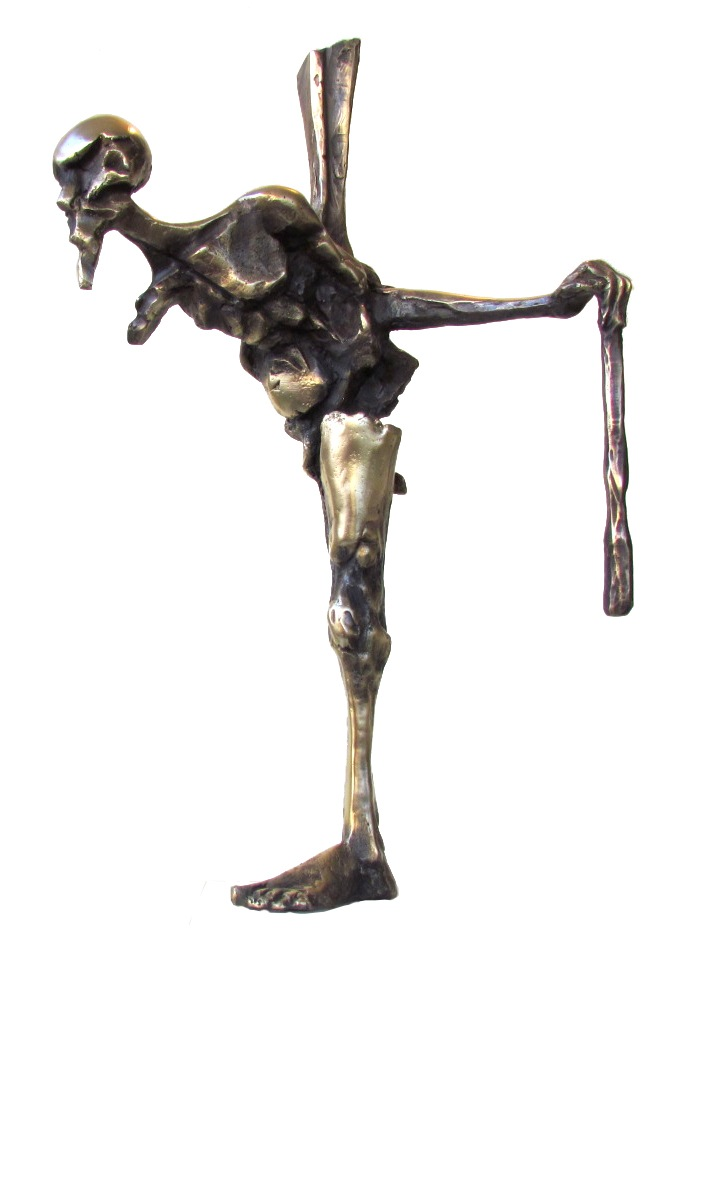 The Time Stricken Man 2, 2014, Bronze with marble base, Edition of 7, 19x51x18 cm