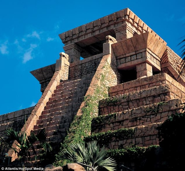 The Mayan Temple replica is full-size, so that it dominates the skyline on Paradise Island