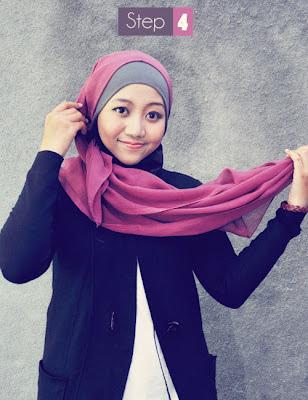 Cara Memakai Jilbab Paris Segi Empat 3