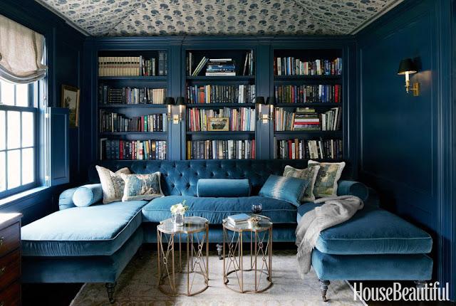 library blue velvet sectional sofa built in bookshelves books cozy home decor gold metal coffee tables