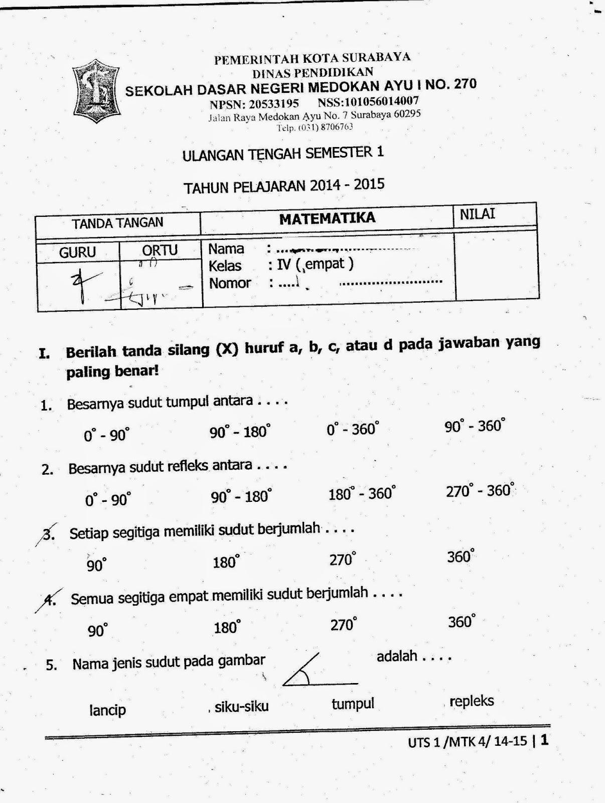 Soal Uts Kelas 4 Sd Agama Islam Kurikulum 2013 Soal