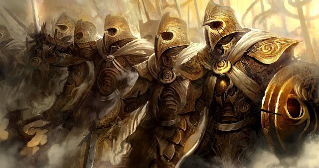 Guardiões planetários com armaduras de ouro, exus caçando kiumbas