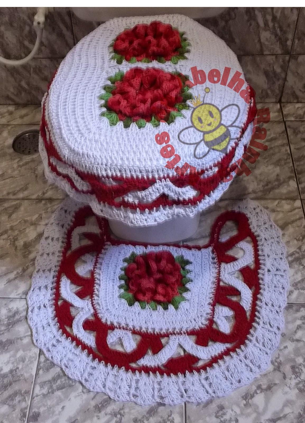 Rainha: Jogo de Banheiro de crochê Vermelho e Branco com Flores #68282E 1154x1600 Banheiro Branco Vermelho