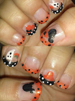 Halloween Time Disney Mickey and Minnie nail art designs
