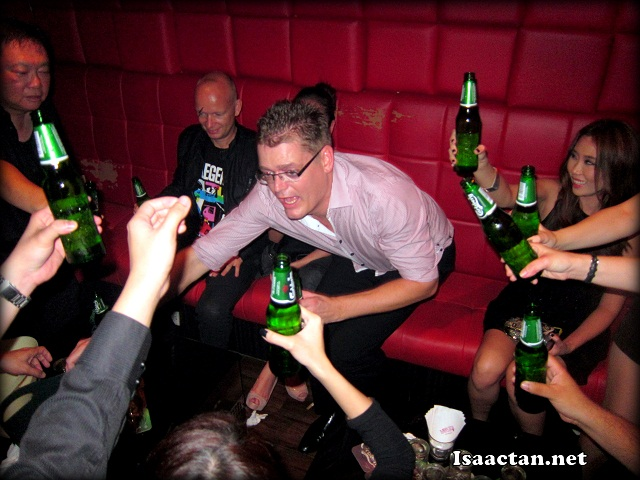 Carlsberg all round, with bottles being raised, and cheerful faces seen the whole night