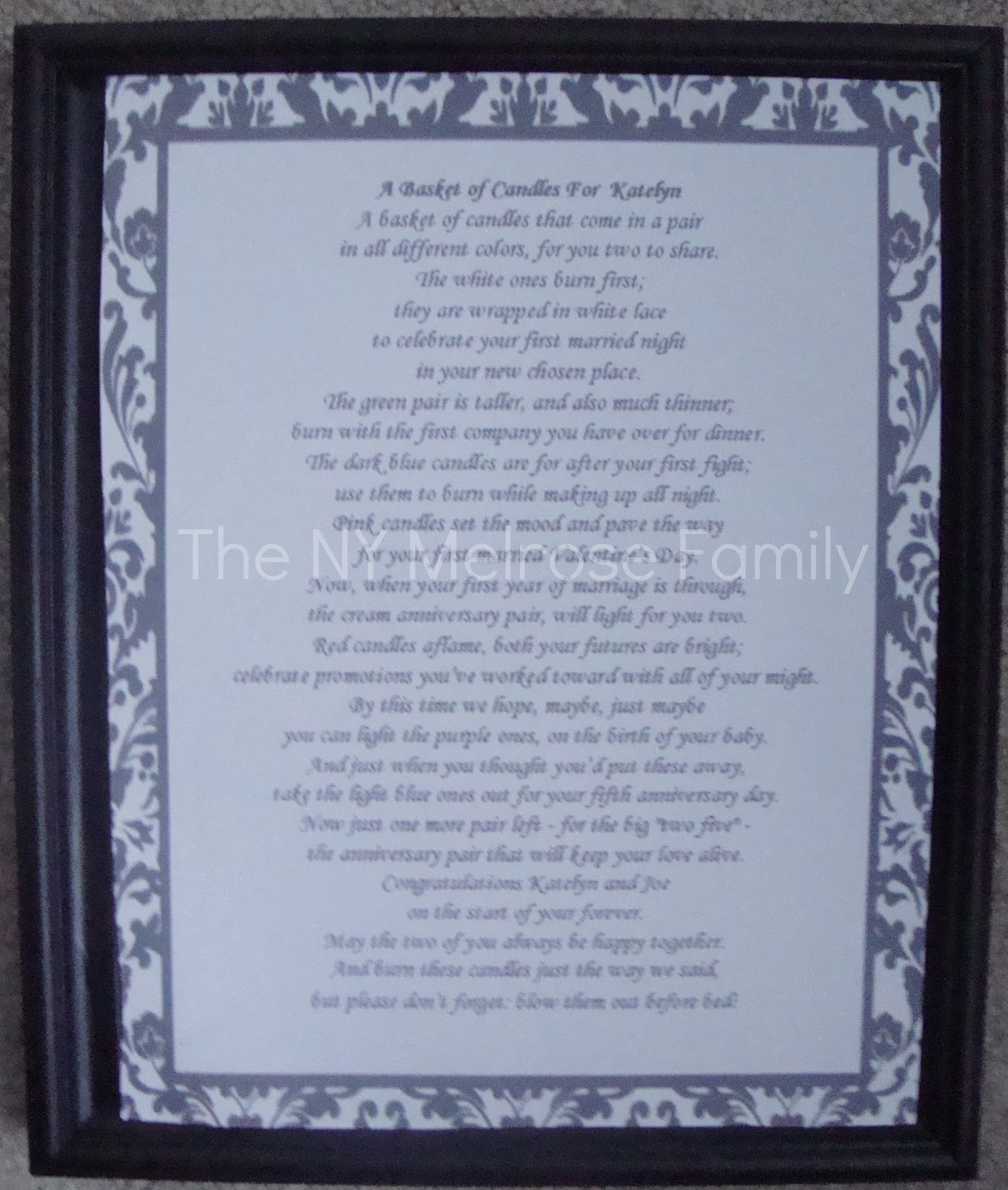 Wedding Candle Gift With Poem : spray painted the frame black and simply placed the poem inside.