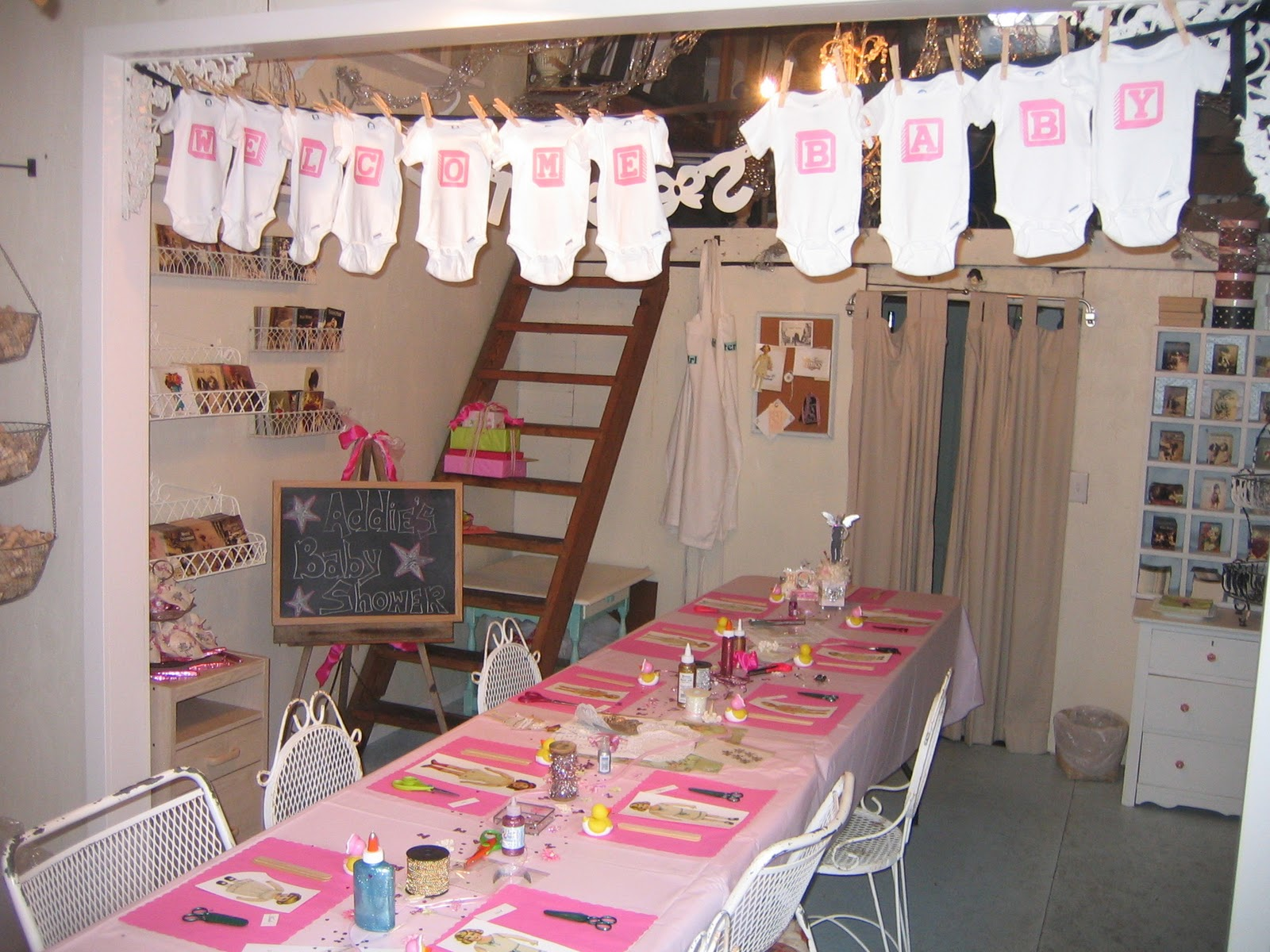 glitter girl studio set up for baby shower