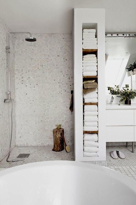 Small bathroom towel storage storing bathroom towels