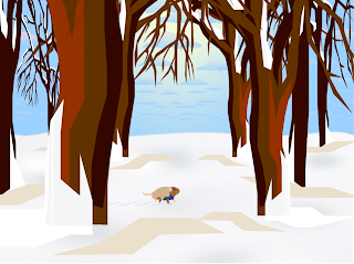 A snow-covered forest. The trees are young and skinny. At their base, something small and brown is moving, leaving a trail in the snow.