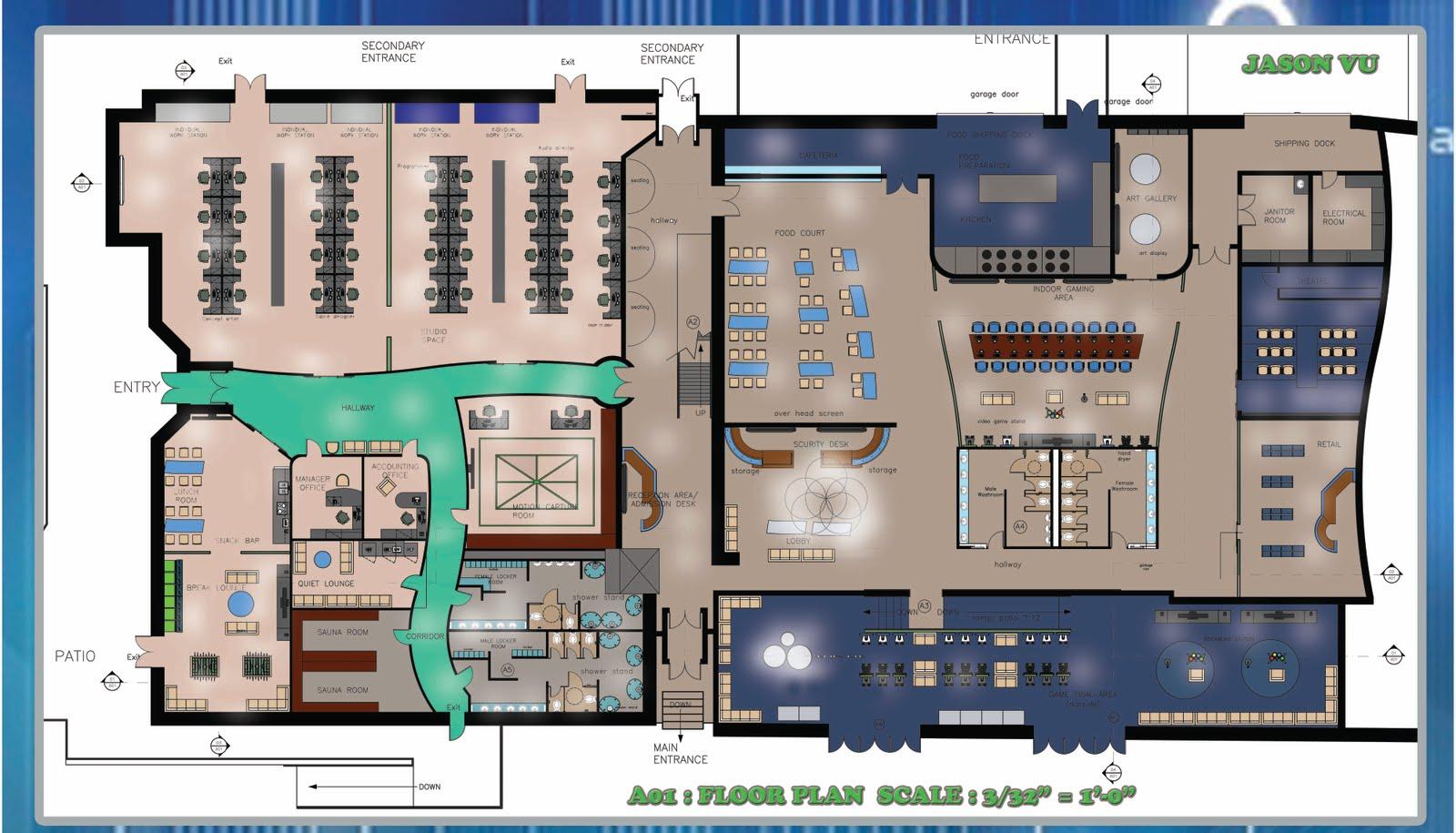 Portfolio Video Game Center Floor plan & Elevation