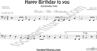 Trombón, Tuba Elicón y Bombardino Partitura de Happy birthday to you (Cumpleaños Feliz) Sheet Music for Trombone, Tube, Euphonium Music Scores (tuba en 8ª baja)