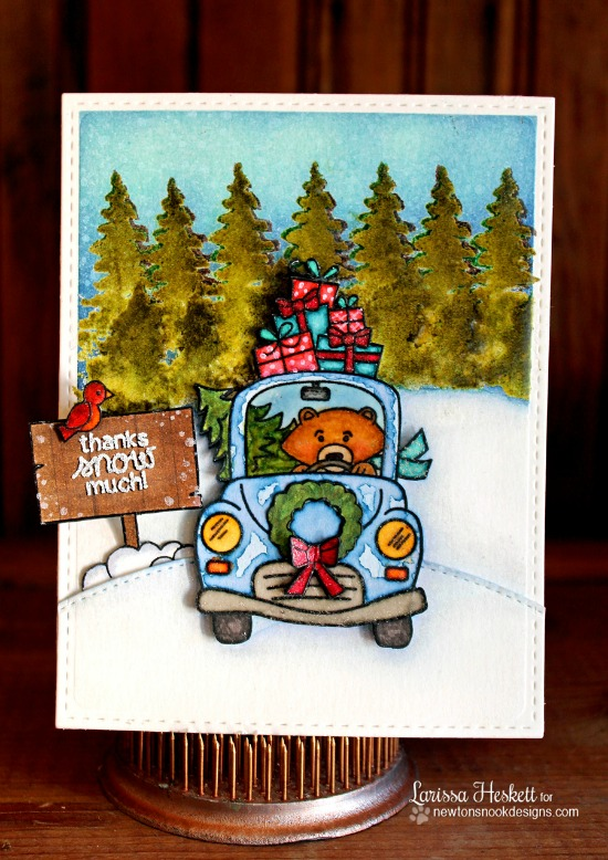 Thanks Snow Much Card by Larissa Heskett | Stamp sets by by Newton's Nook Designs #newtonsnook