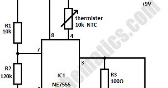 circuit schematic high temperature alarm using 555 ic