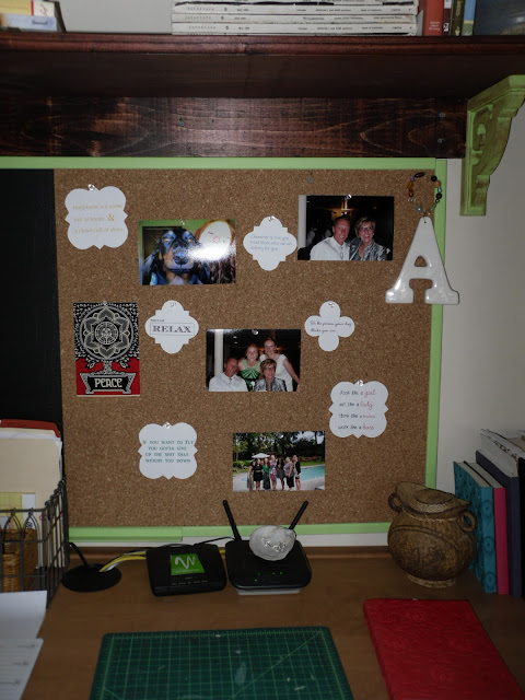 Cork board with finished quotes