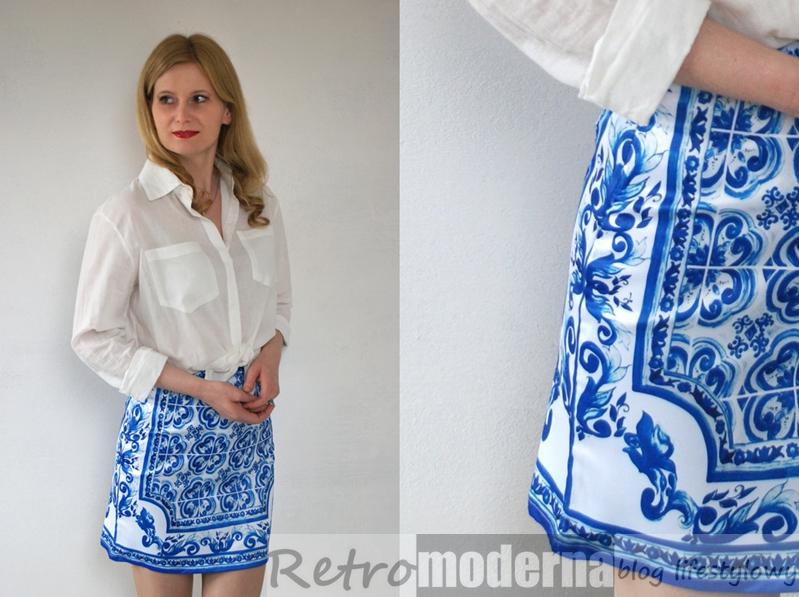 niebieska spodnica z motywem azulejo