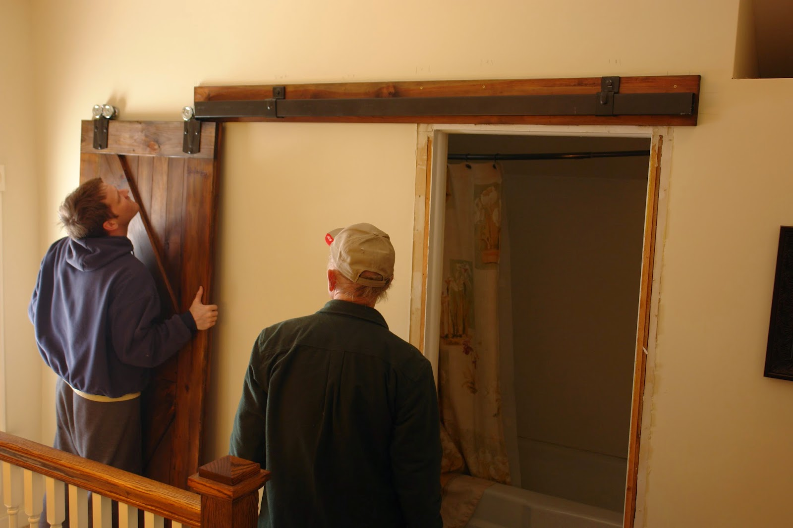 After A Few Adjustments, We Have A Functioning Sliding Barn Door For Our  Bathroom And We Love It!