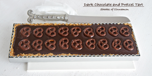 Shades Of Cinnamon: Dark Chocolate and Pretzel Tart