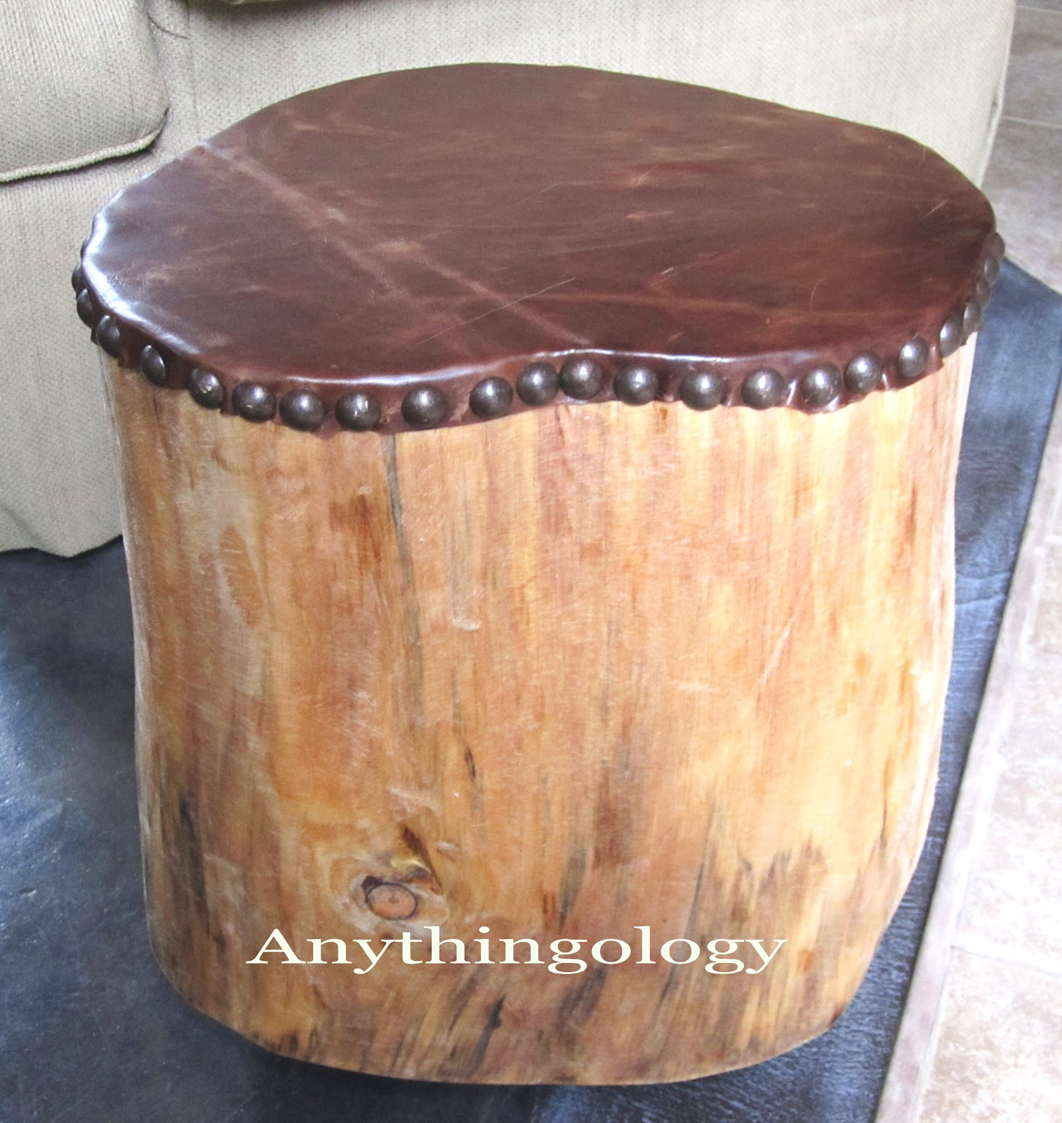 Tree Stump Coffee Table Diy: Anythingology: My Leather Studded Stump