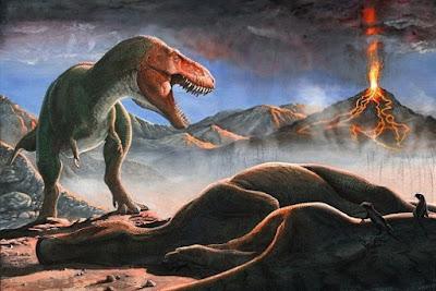 Erupções vulcânicas e um meteorito acabaram com os dinossauros