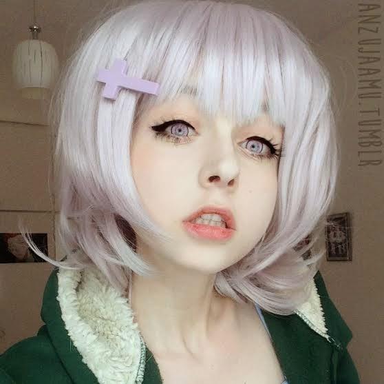 Silver White Wig : Chiaki Nanami Cosplay Wig