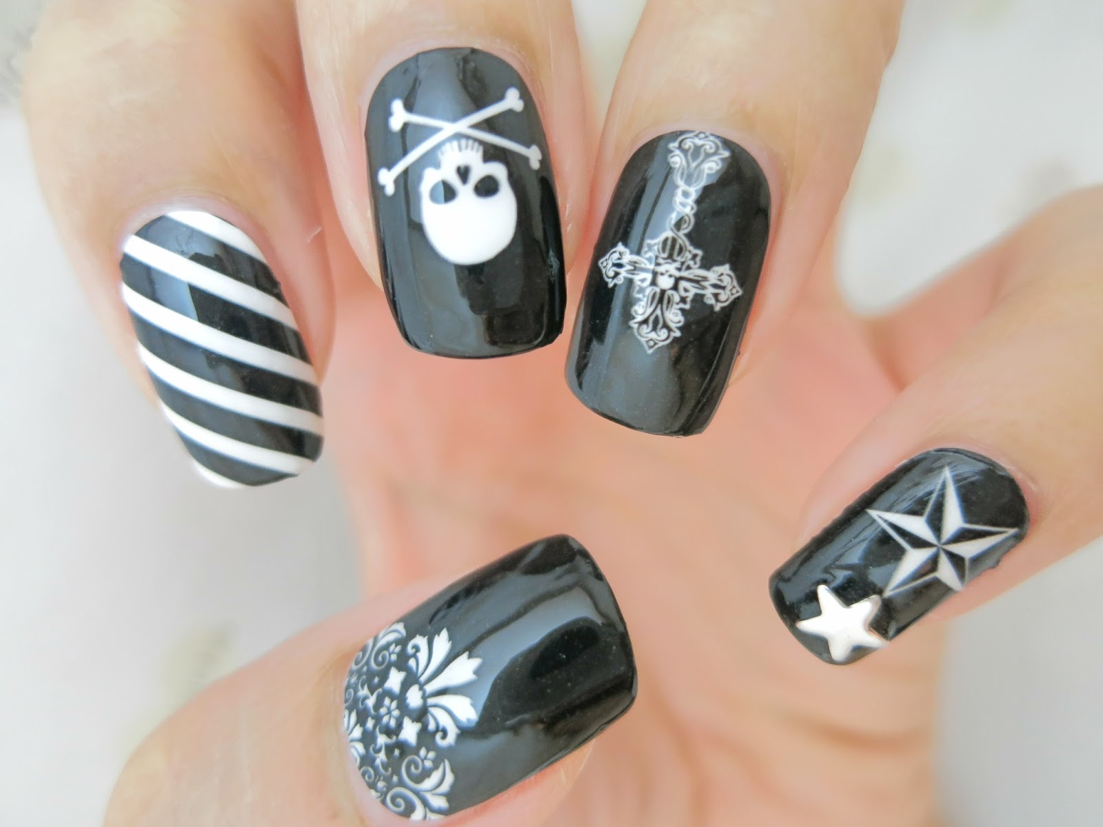 Black And White Punk Nail Art Nail Wrap Ym1007 Chichicho
