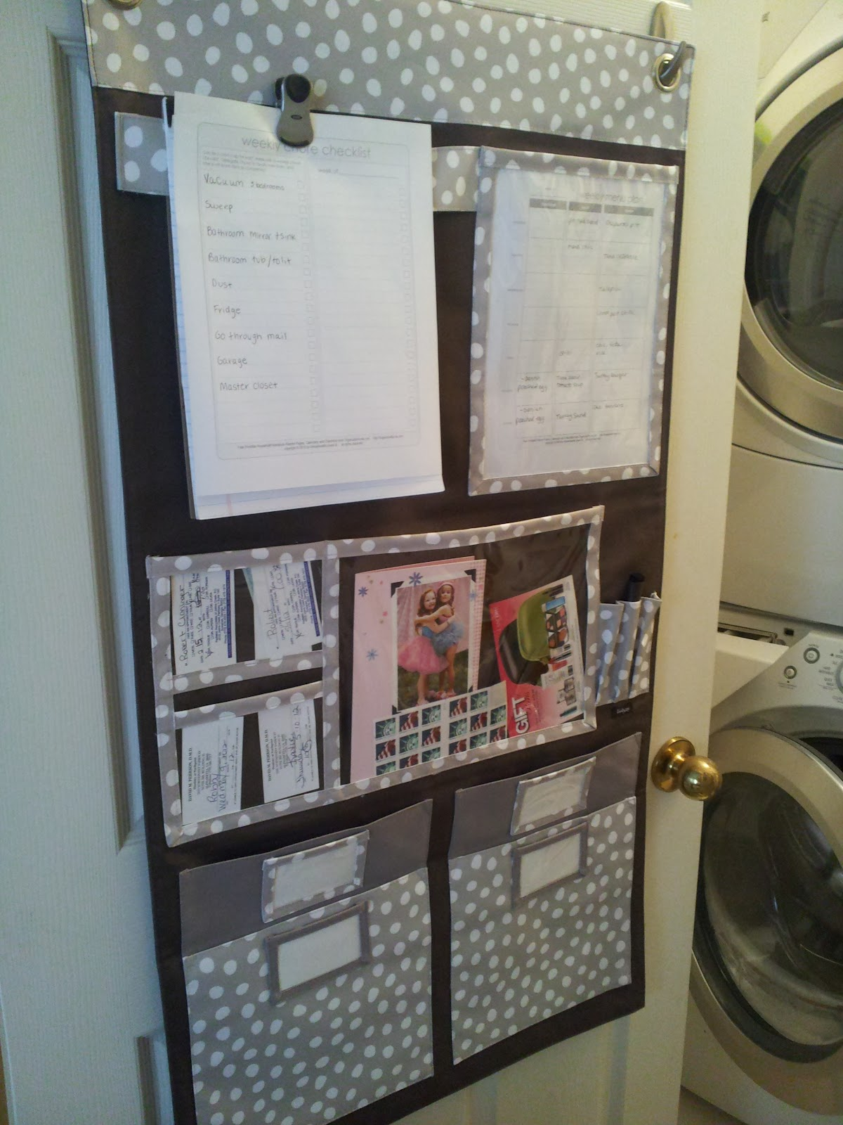 Love My New Wall Organizer On Laundry Room Door This Helps Keep Fridge Clutter Free Clear Pockets Allow For Apt Reminder Cards And The Large