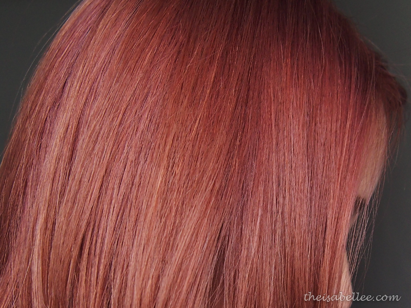 Ashy pink hair closeup