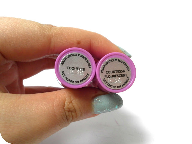 A picture of Lime Crime Coquette and Lime Crime Countessa Flourescent Lipsticks