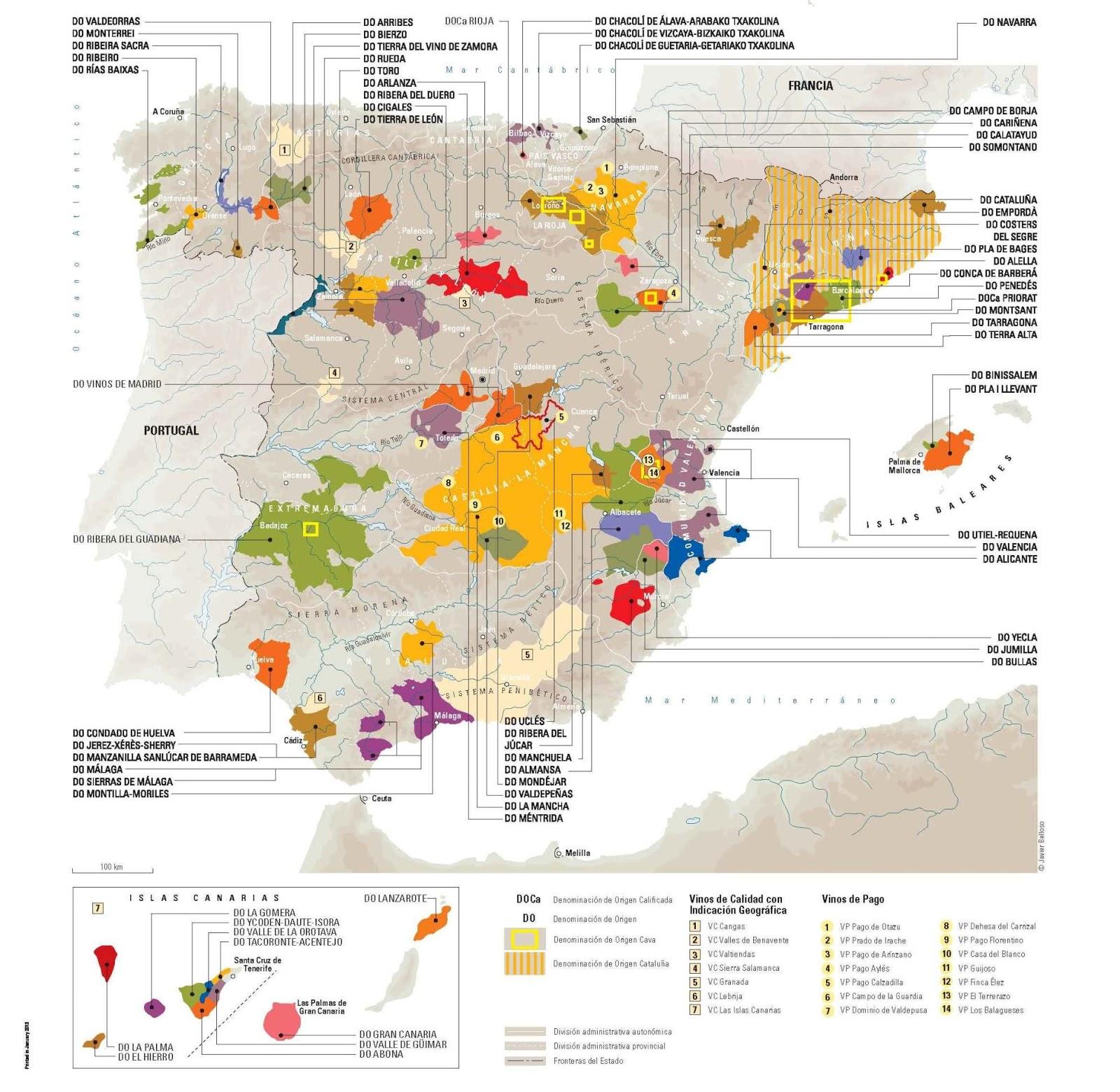 Mapa de las DO de vino españolas 2013