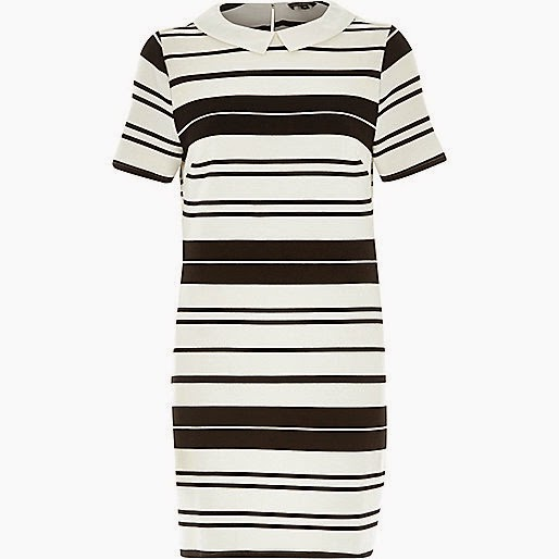 black white striped dress with white collar